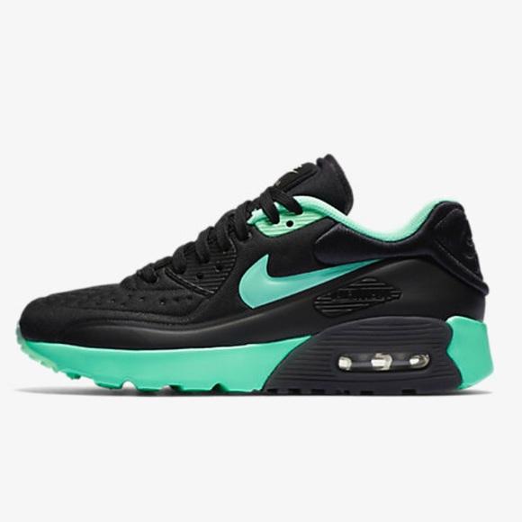 Nike Air Max 90 Ultra Essential Black Resin Enamel Green White 819474 008 Men's Women's Running Shoes